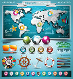 Vector summer travel infographic set with world map and vacation elements. Vector summer travel infographic set with world map and vacation elements Royalty Free Stock Photo
