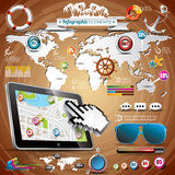 Vector summer travel infographic set with world map and vacation elements. Royalty Free Stock Photo
