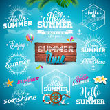 Vector Summer Typography Illustration set with signs and symbols on blue background.  Royalty Free Stock Images
