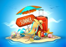 Vector summer vacation realistic 3d poster. Summer vacation, beach party realistic 3d poster. Travelling tourism holiday time illustration lounger, sunshade ball Royalty Free Stock Photo