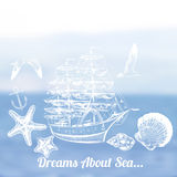 Vector summer vector blurred background with sea and ocean ship Royalty Free Stock Photos