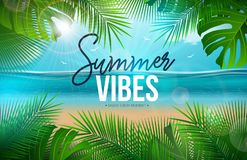 Vector Summer Vibes Illustration with Palm Leaves and Typography Letter on Blue Ocean Landscape Background. Summer. Vacation Holiday Design for Banner, Flyer royalty free illustration
