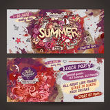 Vector summer watercolor paint party flyer design Royalty Free Stock Photos