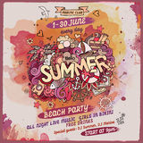 Vector summer watercolor paint party poster Stock Images