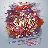 Vector summer watercolor paint party poster Royalty Free Stock Photo