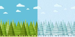 Vector summer and winter nature seamless border for design template stock illustration