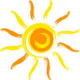Vector sun. Vector yellow sun on white background Stock Photos