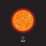 Vector Sun on background with symbol. Vector Sun on dark background with symbol Stock Images