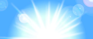 Vector sun on blue sky Stock Photography