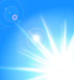 Vector sun on blue sky Royalty Free Stock Images