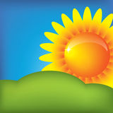 Vector sun on the blue sky background Stock Photography