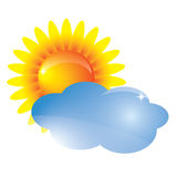 Vector sun and cloud Royalty Free Stock Photo