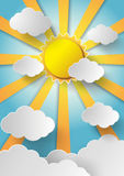 Vector sun with clouds background. Paper cut style stock illustration