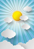 Vector sun with clouds background. Royalty Free Stock Images