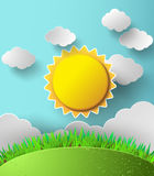 Vector sun with clouds background. Stock Photos