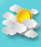 Vector sun with clouds background. Stock Photo