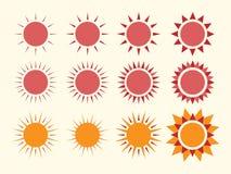 Vector sun collection Stock Photos