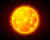 Vector sun cosmic illustration. Vector sun illustration on dark cosmic background Royalty Free Stock Images