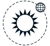 Vector sun earth orbit simple vector illustration Stock Photography