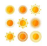 Vector sun flat set Royalty Free Stock Photo