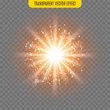 Vector sun light lens flare glare template transparent effect illustration. Glitter beams Royalty Free Stock Photo