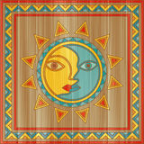 Vector sun and moon face. Traditional day and night allegory painted on square wooden board vector illustration
