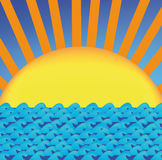 Vector sun over sea Stock Image