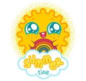Sun with rainbow. Vector sun with rainbow in kawaii style. Vector illustration of a kawaii sun with rainbow and cloud. Summer time Royalty Free Stock Photography