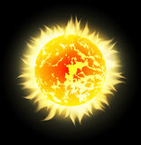 Vector sun with rays in space Royalty Free Stock Image