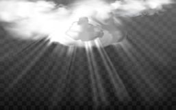 Vector sun rays through white fluffy clouds Royalty Free Stock Images