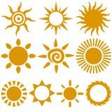 Vector Sun. Vector set of color stylish sun icons Stock Photography