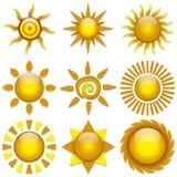 Vector Sun. Vector set of color stylish sun icons Royalty Free Stock Photos
