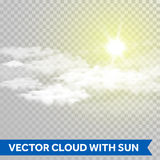 Vector sun shine with cloud. Lens flare ray of light. Royalty Free Stock Photo