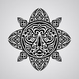 Vector sun with tiger face in the centre. Tattoo sketch, Polynesian tattoo style Stock Photos