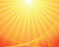 Vector sun on yellow background Stock Images