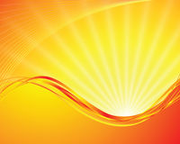 Vector sun on yellow background. With orange rays Stock Photography