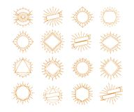 Vector sunburst frame set gold style isolated on white background for logo. Shop, market emblem, tag, badge, decoration. Star, firework explosion, rays of Royalty Free Stock Images
