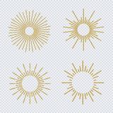 Vector sunburst gold glitter style set isolated on transparent background. Firework explosion, star, rays of light collection. 10 eps Stock Photos