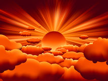 Vector sunburst. sunset on cloud. EPS 8 Royalty Free Stock Photography