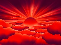 Vector sunburst. sunset on cloud. EPS 8 Royalty Free Stock Photos