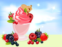 Vector sundae illustration with berry. And blue sky Royalty Free Stock Photos