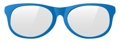 Vector sunglasses. Vector blue eyeglasses with the light shine Stock Photo