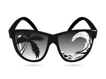 Vector sunglasses and double exposure, palms, sea and ocean waves. The concept of summer vacations and trips to exotic countries. Black white isolate stock illustration