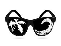 Vector sunglasses and double exposure, palms, sea and ocean waves. The concept of summer vacations and trips to exotic countries. Black white isolate royalty free illustration