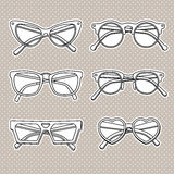 Vector sunglasses icons set  on white background Stock Images