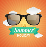 Vector sunglasses summer card background Royalty Free Stock Image
