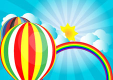 Vector sunlight on cloud with hot air balloon and rainbow Royalty Free Stock Image