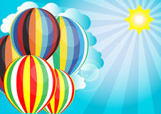 Vector sunlight with hot air balloon in the sky background Royalty Free Stock Images