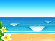 Vector sunny beach with waves and frangipani flower Stock Images