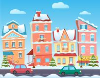 Vector Sunny cute cartoon City street at Winter. Cartoon buildings. Christmas background with urban houses and shops.  Royalty Free Stock Images